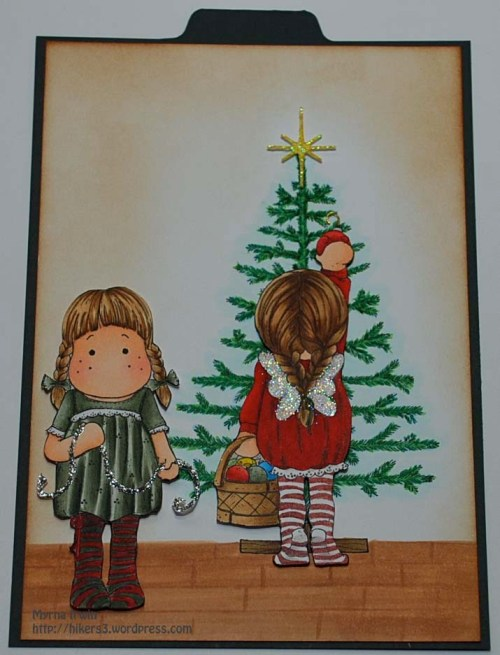 Christmas Tree with Tilda Decorates Tree & Tilda with Glitter